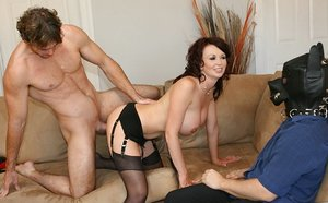 Cool Big-chested Wifey Screws In Front of Husband