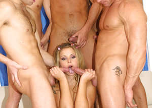 Gang pounded ash-blonde