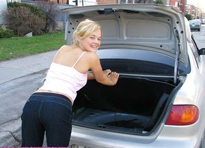 Cute blonde hitchhiker