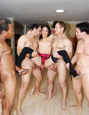 Asian bitch gang-banged