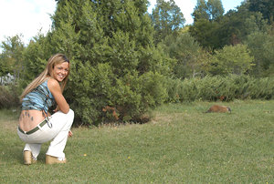 Teenage posing outdoors